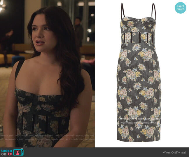 Corseted floral-jacquard midi dress by Brock Collection worn by Jane Sloan (Katie Stevens) on The Bold Type