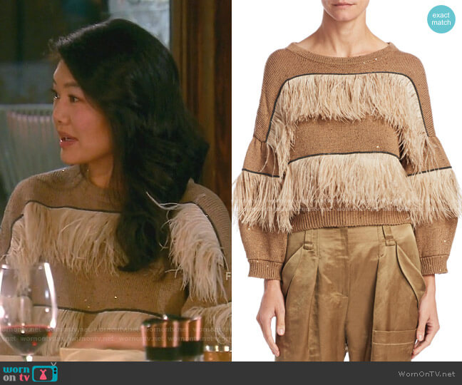 Feather Trimmed Crew Sweater by Brunello Cucinelli worn by Crystal Kung Minkoff  on The Real Housewives of Beverly Hills