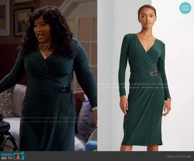 Buckled Jersey Dress by Lauren Ralph Lauren worn by Paulina Price (Jackée Harry) on Days of our Lives