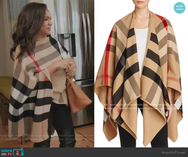 Charlotte Reversible Solid to Check Wool Cape by Burberry worn by Eboni K. Williams (Ebony K. Williams) on The Real Housewives of New York City