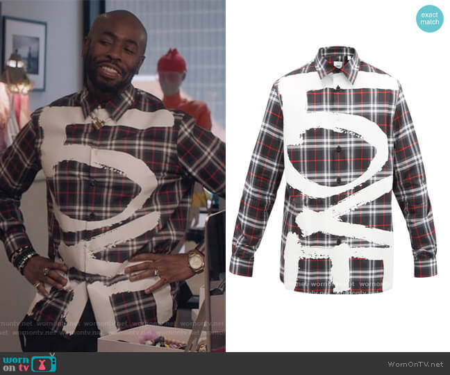 Love Print Check Cotton Shirt by Burberry worn by Stephen Conrad Moore on The Bold Type