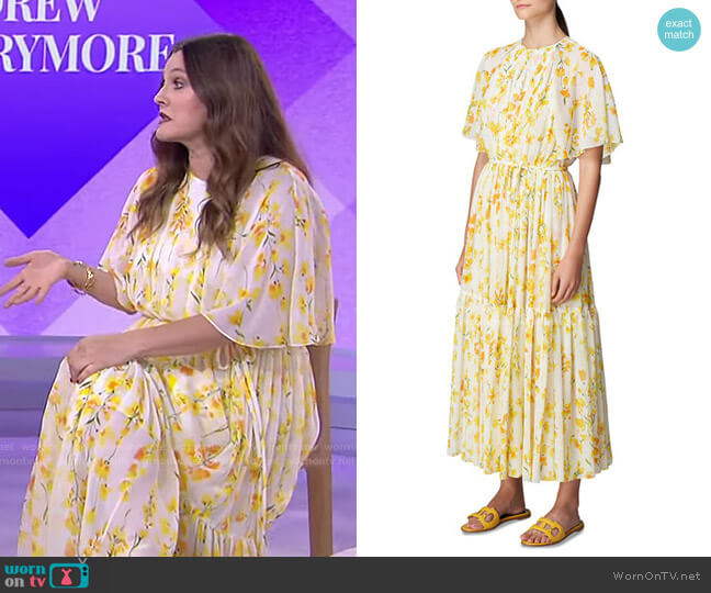Floral-Print Self-Tie Silk Midi Dress by Carolina Herrera worn by Drew Barrymore on Today
