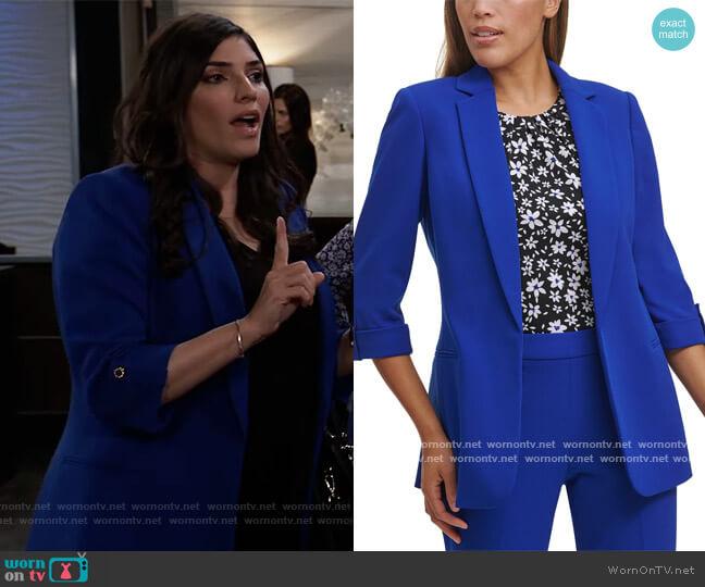 Petite Roll-Sleeve Jacket by Calvin Klein worn by Brook Lynn Quartermaine (Amanda Setton) on General Hospital