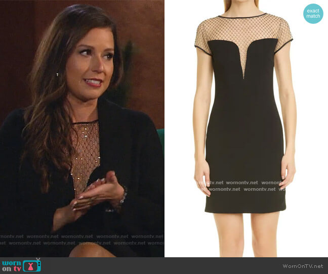 Kinsley Crystal Mesh Illusion Cocktail Dress by CDGNY By CD Greene worn by Katie Thurston  on The Bachelorette