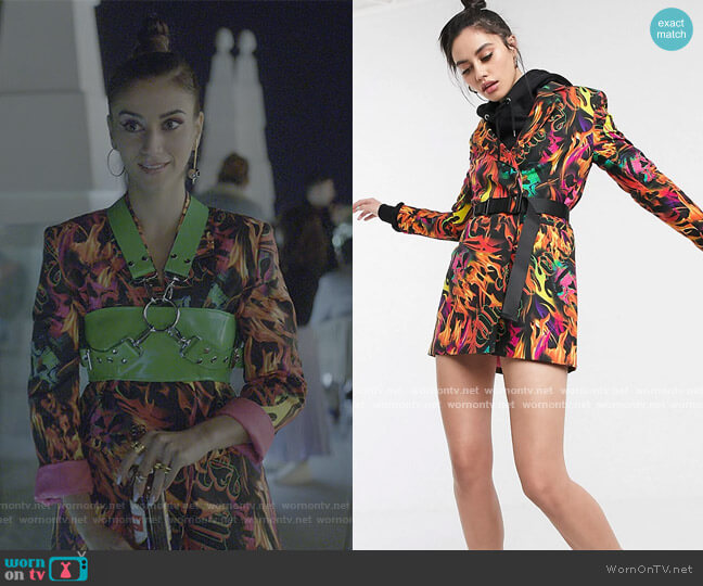 Flame Print Blazer Dress with Waist Belt by Collusion from ASOS worn by Rebeca (Claudia Salas) on Elite