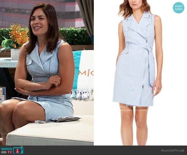 Moto Wrap Dress by Calvin Klein worn by Britt Westbourne (Kelly Thiebaud) on General Hospital