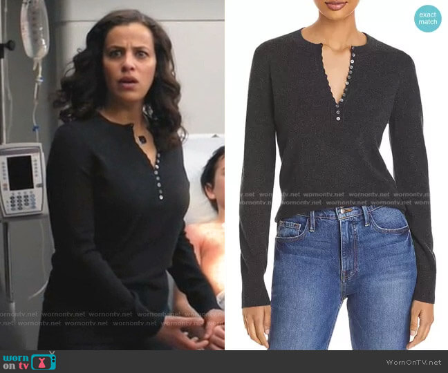 Cashmere Henley Sweater by Theory worn by Grace Stone (Athena Karkanis) on Manifest