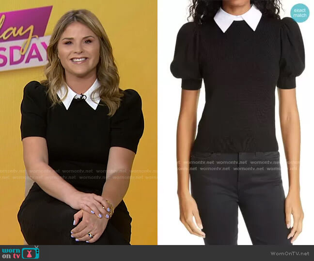 Chase Puff Sleeve Sweater with Removable Collar by Alice + Olivia worn by Jenna Bush Hager  on Today
