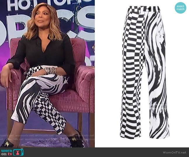 Multi-print high rise trousers by Christopher John Rogers worn by Wendy Williams  on The Wendy Williams Show