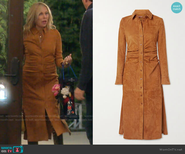 Claudia Ruched Suede Midi Shirt Dress by Altuzarra worn by Sutton Stracke  on The Real Housewives of Beverly Hills