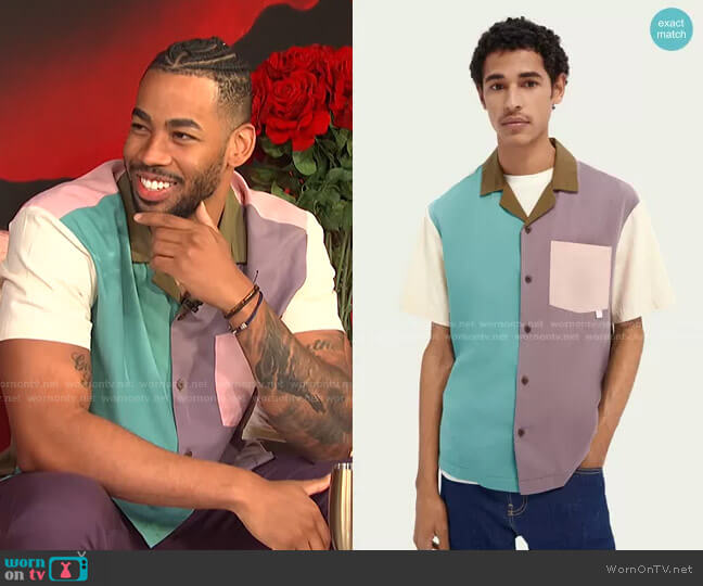 Colour Block Tencel Blend Shirt by Scotch & Soda worn by Mike Johnson on E! News Daily Pop
