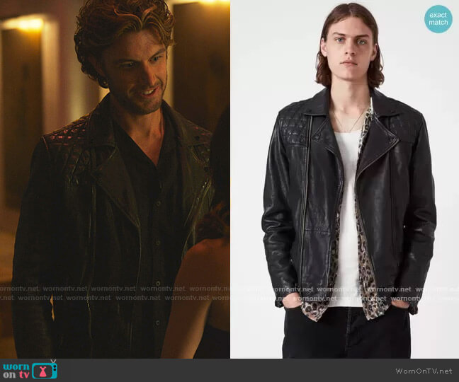 Conroy Leather Jacket by All Saints worn by Adam Demos on Sex/Life