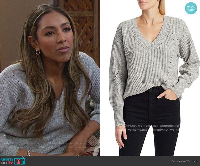 Shimmer Merino Wool Cashmere Sweater by Derek Lam 10 Crosby worn by Tayshia Adams  on The Bachelorette