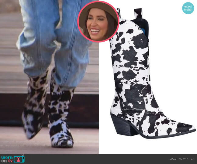 Live a Little Genuine Calf Hair Western Boot by Dingo worn by Kaitlyn Bristowe on The Bachelorette