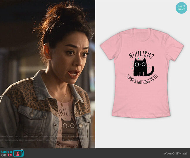 Nihilism Cat T-Shirt by by Dinomike from Teepublic worn by Ella Lopez (Aimee Garcia) on Lucifer