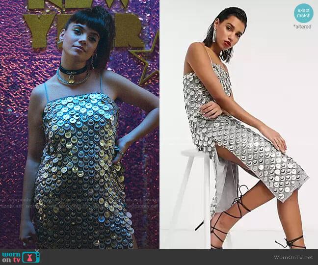 Disc Sequin Cami Embellished Midi Dress by Asos worn by Mencia Blanco (Martina Cariddi) on Elite