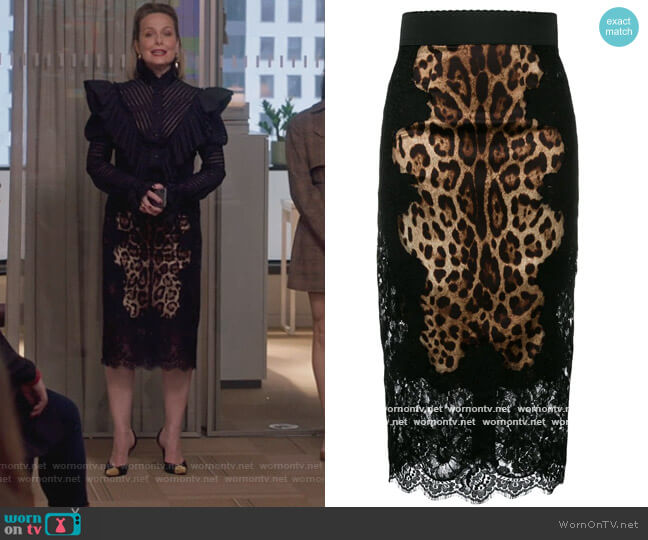 Leopard Print Pencil Skirt by Dolce & Gabbana worn by Jacqueline (Melora Hardin) on The Bold Type