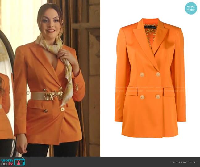 Double-Breasted Cady Blazer by Versace worn by Fallon Carrington (Elizabeth Gillies) on Dynasty