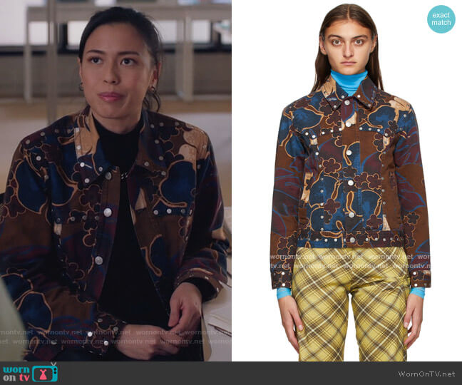 Purple & Brown Denim Floral Jacket by Dries Van Noten worn by Christine Nguyen on The Bold Type