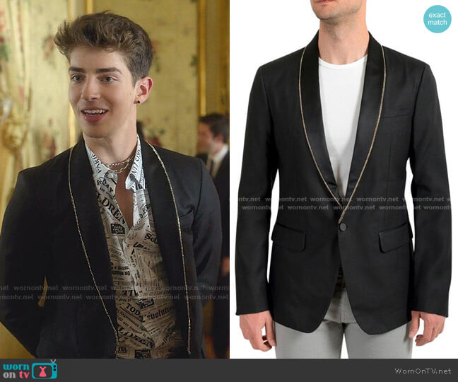 One Button Embellished Blazer by Dsquared2 worn by Manu Rios on Elite