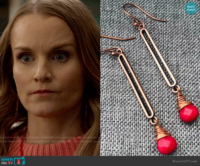 Eileen Heneghan Stout Antique Copper Wire Wrapped Red Jade Earrings worn by Miss Jenn (Kate Reinders) on High School Musical The Musical The Series