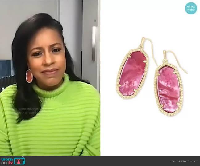 Elle Drop Earrings in Berry Illusion by Kendra Scott worn by Sheinelle Jones  on Today