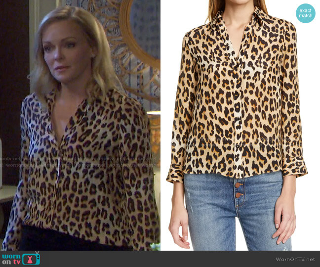 Eloise Leopard Print Blouse by Alice + Olivia worn by Belle Brady (Martha Madison) on Days of our Lives