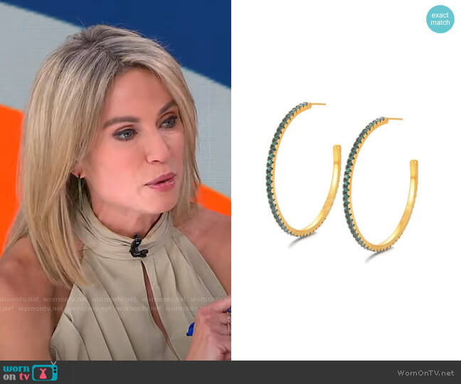 Emerald CZ Hoops by Accessory Concierge worn by Amy Robach  on Good Morning America