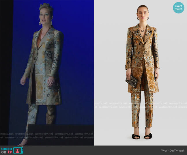 Morgan single-breasted metallic-jacquard coat and Pants by Etro worn by Jacqueline (Melora Hardin) on The Bold Type