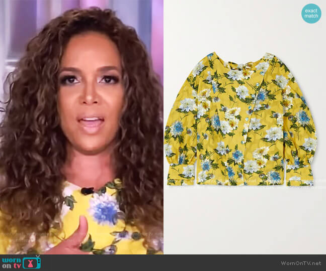 Marion floral-print fil coupé cotton blouse by Evi Grintela worn by Sunny Hostin  on The View
