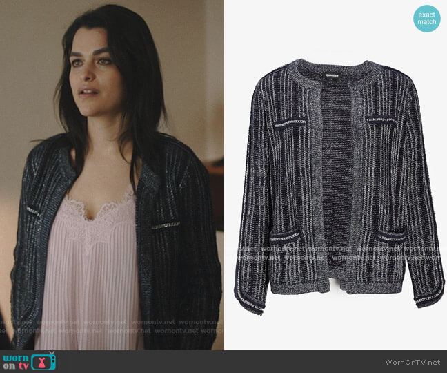 Metallic Striped Chain Trim Sweater Jacket by Express worn by Eve Harlow on Queen of the South