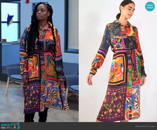 Farm Rio Mix Scarves Chemise Dress worn by Sabrina Hollins (Novi Brown) on Tyler Perrys Sistas