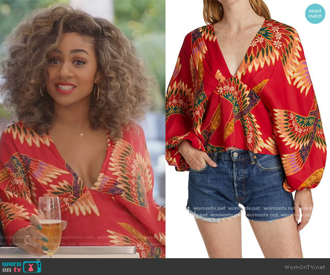 Toucan Bell-Sleeve Blouse by Farm Rio worn by Patience (Chelsea Tavares) on All American