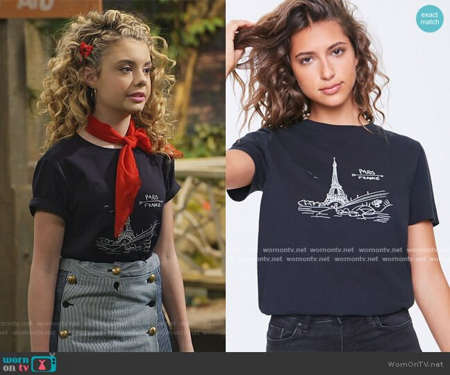 Paris Graphic Tee by Forever 21 worn by Destiny Baker (Mallory James Mahoney) on Bunkd
