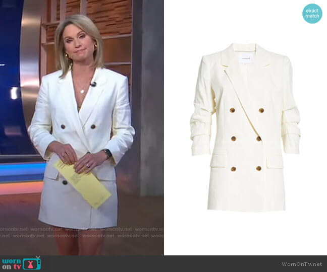 Pleated Sleeve Linen Blend Blazer Minidress by Frame worn by Amy Robach  on Good Morning America