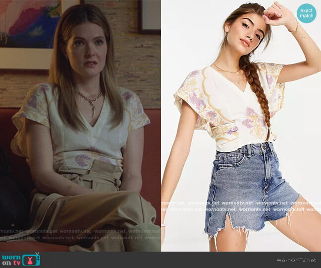 Arielle Top by Free People worn by Sutton (Meghann Fahy) on The Bold Type