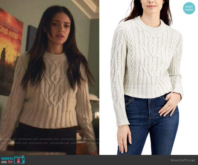 Joetta Cable-Knit Sweater by French Connection worn by Olive Stone (Luna Blaise) on Manifest