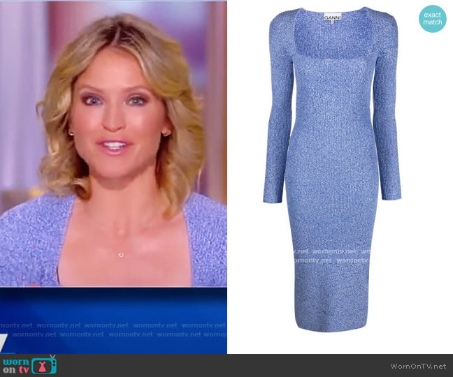 Mélange Ribbed-knit fitted dress by Ganni worn by Sara Haines  on The View