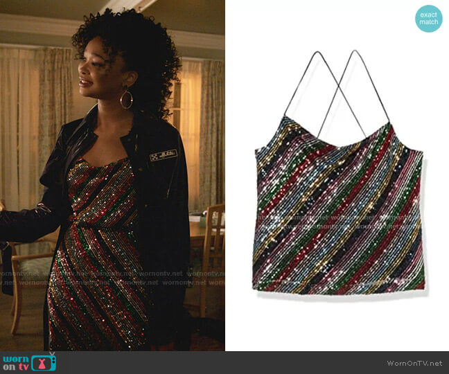 Gia Cowel Neck Cami by Milly worn by Monica Colby (Wakeema Hollis) on Dynasty