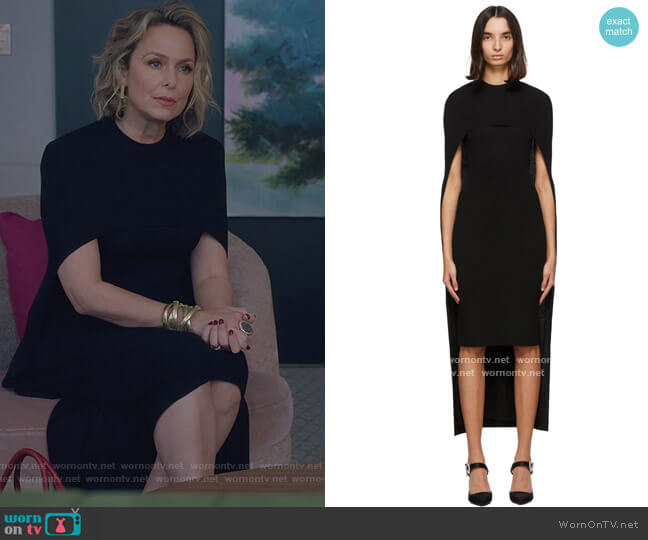 Black Wool Cape Dress by Givenchy worn by Jacqueline (Melora Hardin) on The Bold Type
