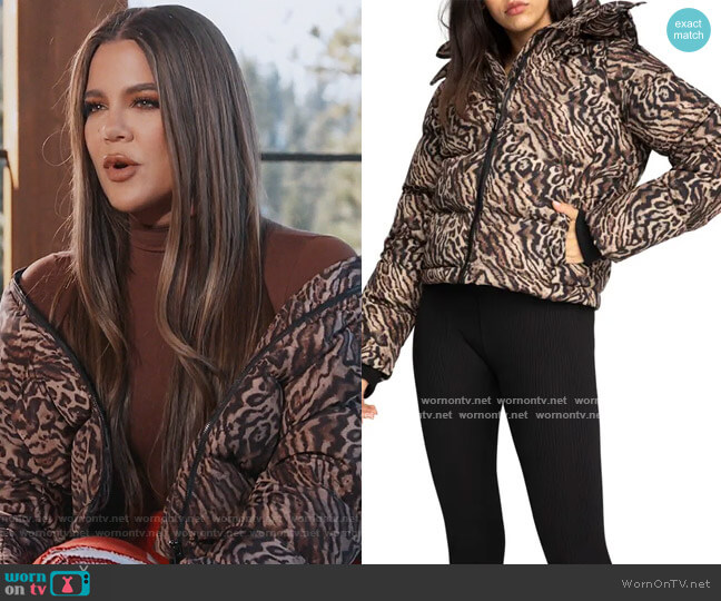 Leopard Print Puffer Jacket by Good American worn by Khloe Kardashian  on Keeping Up with the Kardashians
