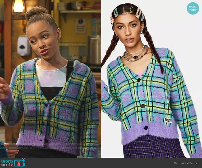 Goof Fuzzy Plaid Cardigan by The Ragged Priest worn by Ava (Shelby Simmons) on Bunkd