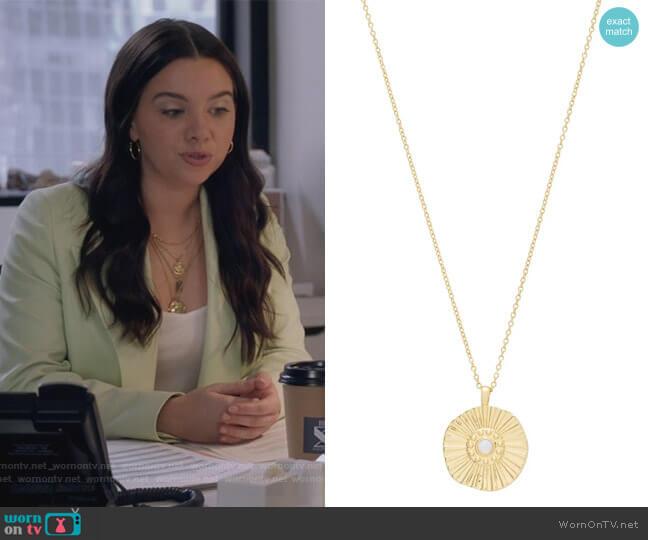 Sunburst Coin Pendant Necklace by Gorjana worn by Jane Sloan (Katie Stevens) on The Bold Type