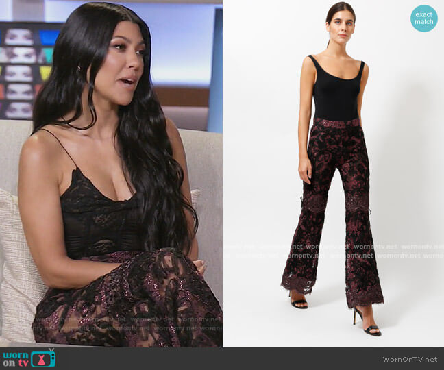 Collector Lace Flared Trousers by Gucci worn by Kourtney Kardashian  on Keeping Up with the Kardashians