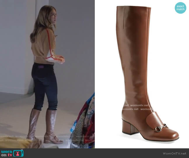 Lillian Horsebit Knee High Boot by Gucci worn by Sutton (Meghann Fahy) on The Bold Type