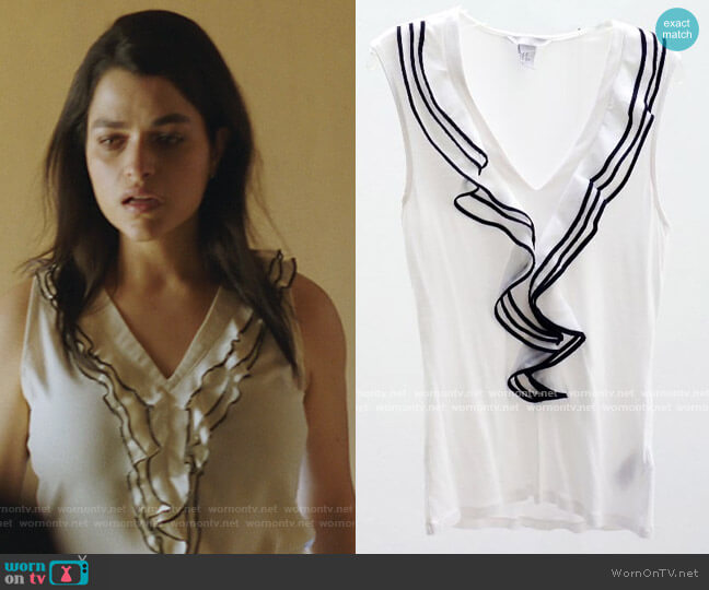 White Sleeveless Ruffled Top by H&M worn by Eve Harlow on Queen of the South