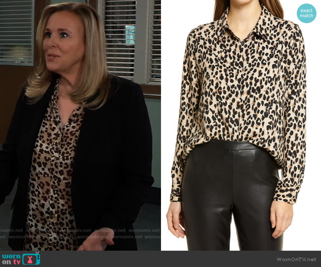 Hidden Button Long Sleeve Blouse by Halogen worn by Laura Collins (Genie Francis) on General Hospital