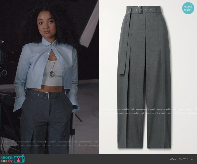 Belted wool-blend straight-leg pants by Helmut Lang worn by Kat Edison (Aisha Dee) on The Bold Type