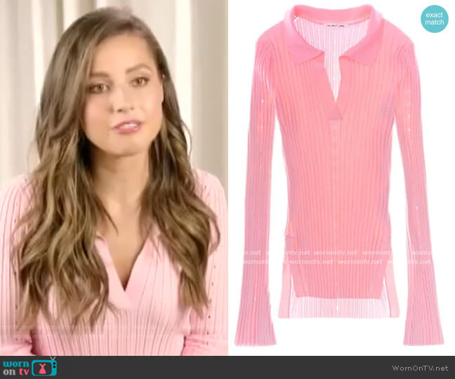 Ribbed Bell-Sleeve Polo by Helmut Lang worn by Katie Thurston on E! News Daily Pop