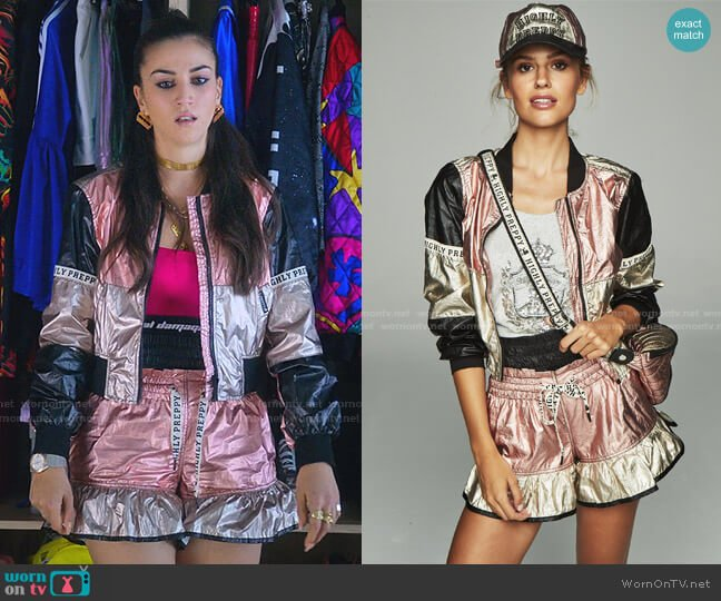 Metallic Bomber Jacket and Shorts by Highly Preppy worn by Rebeca (Claudia Salas) on Elite